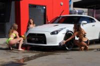 One CLEAN Nissan V35 GTR  by Bikini Babes